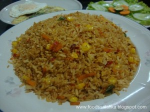 Nasi Goreng is a popular rice dish in Sri Lanka(Indonesian Fried Rice)