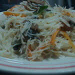 stir fry Rice vermicelli with sea food & vegetable