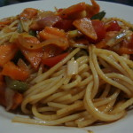 Spaghetti with fried vegetables