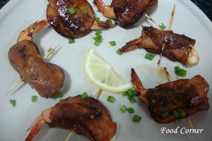 Prawns Wrapped in Ham Slices