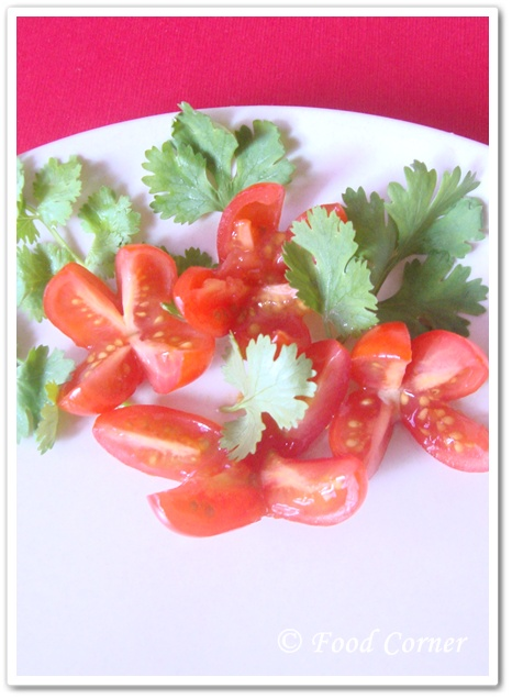 Garnish with Cherry Tomato Flowers