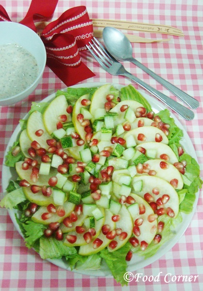 Pomegranate & Pear Salad with Yogurt Dressing (A Christmas Salad)