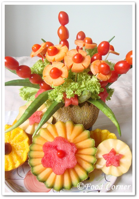 Rock melon centerpiece easy food garnish idea corner