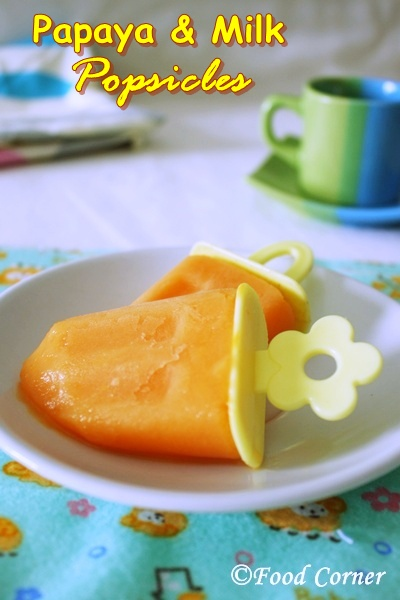 Papaya and Milk Popsicles