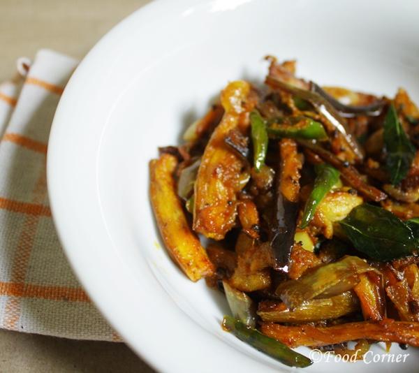 Sri Lankan Fried Brinjal Curry-Wambatu Thel dala