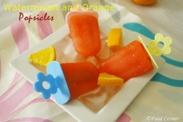 Popsicle Recipes-Watermelon and Orange Popsicles
