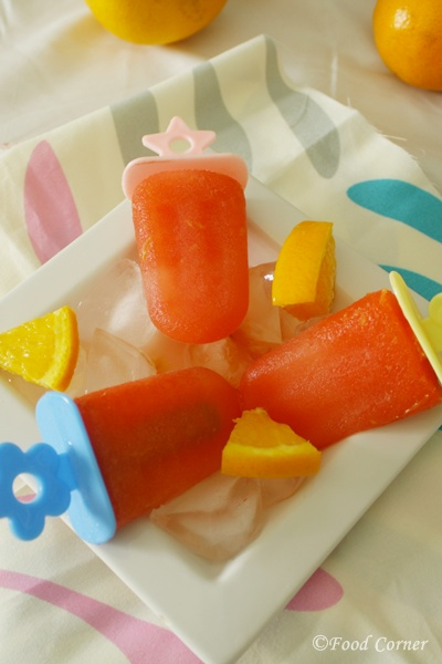 Watermelon Recipes-Watermelon and Orange Popsicles