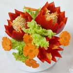 Edible Centerpiece with Bell peppers and Carrots