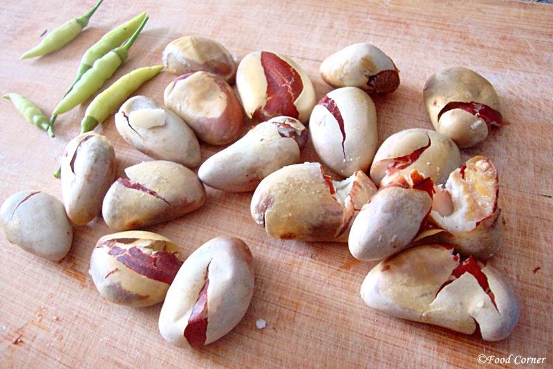 Sri Lankan Kos ata kalu pol curry (jackfruit seeds curry)