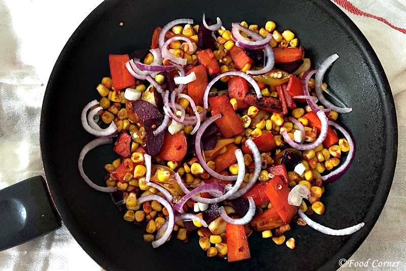 Sauteed beets with carrot and Corn