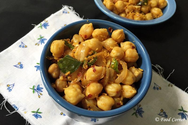Chickpea Recipes : Boiled and Tempered Chickpeas (Thambapu Kadala)