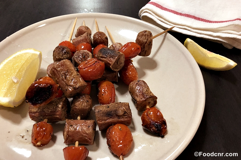 Grilled Sausage and Tomato Skewers