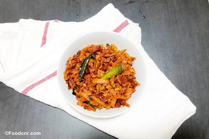 Beetroot carrot Mung Parippu stir fry
